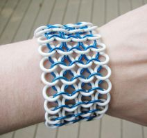 Blue and White Chainmaille Bracelet by merigreenleaf