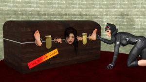 Lara tickled in pillory chest by Vadda-Orca