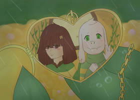 Asriel and Chara by Paralysa
