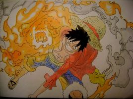 Monkey D Luffy - Gomu Gomu no Red Hawk by TakoKaze