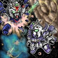 Hi-Nu Gundam vs Strike Freedom by zerokaiser