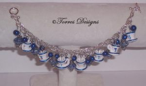 Cobalt Blue Tea Cups Bracelet by TorresDesigns