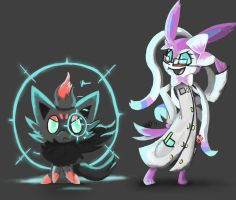 Raven and Prof. Sylveon by FireflyThe5th
