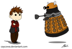 Rory and Dalek chibis by caycowa