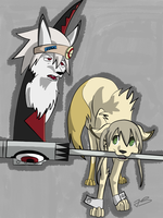 Soul and Maka as dogs by Timeless-Knight