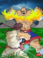 Ryu vs Sagat - Game Art HQ's SF Tribute Project by Marvin000