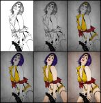 Steps To Coloring Faye Valentine by Jessica-Lorraine-Z