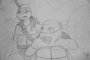 Michelangelo and Donatello TMNT 2012 by mikenunoz