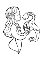 Daenerys and Drogon - Lineart by VoxVulpina