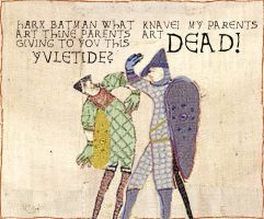 Bayeaux Tapestry Batman by Skeleton-Boy