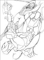 spiderman vs ironman lineart by voidsource