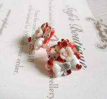 Red and white deco earrings by Stefimoose