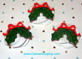 Holly and bow frosting rings by The-Cute-Storm