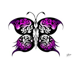 Butterfly Tribal Pink by DragonBlackRoses