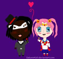 Eli and Beth as Tuxedo Mask and Sailor Moon by pink-marshmallows