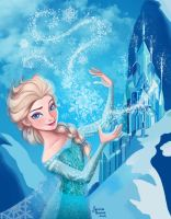 Queen Elsa - ice castle version by jillustrates