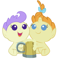 Two fillies with a cider by 3D4D