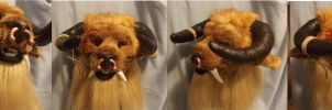 Lion-Minotaur Head by ArtSlavefursuits