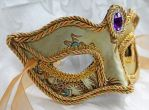 Gold Satin Brocade Mask With Purple Gem by DaraGallery