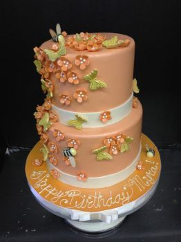 Peachy Two Tier with Cherry Blossoms by Spudnuts
