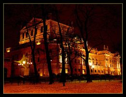 Theater At Night In Cracow by skarzynscy