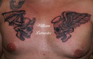 Angel and Devil Skulls - Chest by lemaster99705