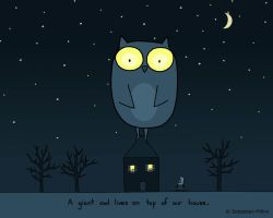 Giant Owl On Top of Our House by sebreg