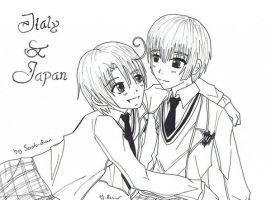 Italy and Japan-Gakuen Hetalia by Saoto