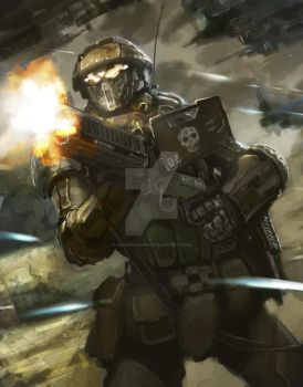 common soldier (machinegunn) by GreenViggen