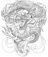 Japanese Dragon Tattoo Design by BeniaminoBradi