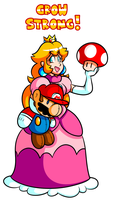 Commission - Peach and Plush Mario by JamesmanTheRegenold