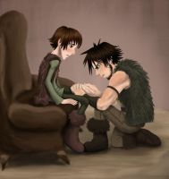 Snotlout checks on Hiccup by JenKristo