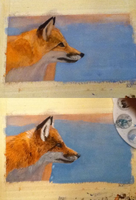 Watercolor fox WIP by VengefulSpirits