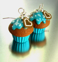 Blue muffins - earrings by Lovely-Ebru