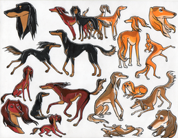 the saluki family stickers by shelzie