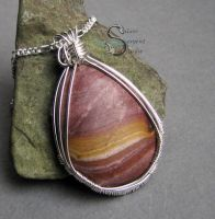 Painted Rhyolite Pendant by PurlyZig