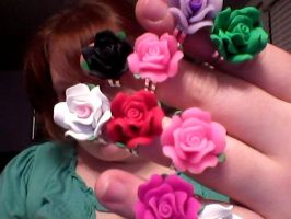 Fimo Rose Rings by pinkplaidrobot