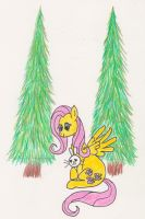 Fluttershy and Angel Christmas Card by Tesa-studio