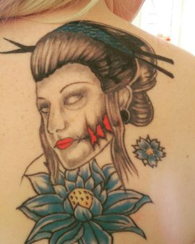 My Geisha tattoo (unfinished) by KerryBowles