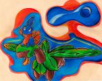 Tropius and Mudkip by RioalAmanecer