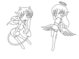 Chibi Angel and Devil lineart by HeiKurashi