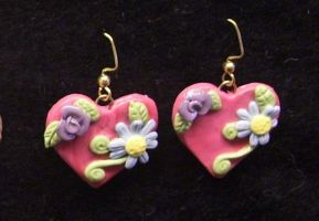 Hearts and flowers earrings 2 by ladytech