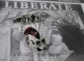 ANARCHY PUNK SKULL BROOCH by TocsinDesigns