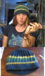 Crochet hat - blue and yellow by danaan-dewyk