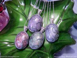Ornate Polymer Clay Faux Opal Pendants by plasterfish