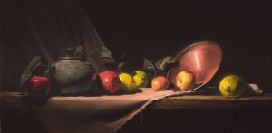 teapot with apples and lemons by David-McCamant