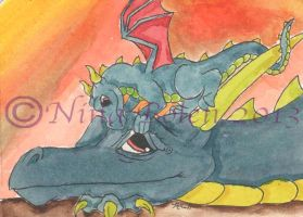 Wake Up Dragon ACEO by The-GoblinQueen