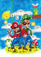 the super Mario Brothers by evvelevve