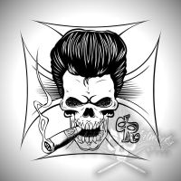 Rockabilly Skull by actionrokka