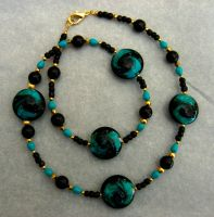 Black, Gold, and Teal Necklace by TernFeather